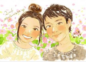 恋人・夫婦の記念日の似顔絵(原明あさの)