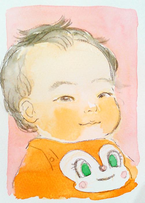 原明あさの出張似顔絵サンプル(水彩カラー)