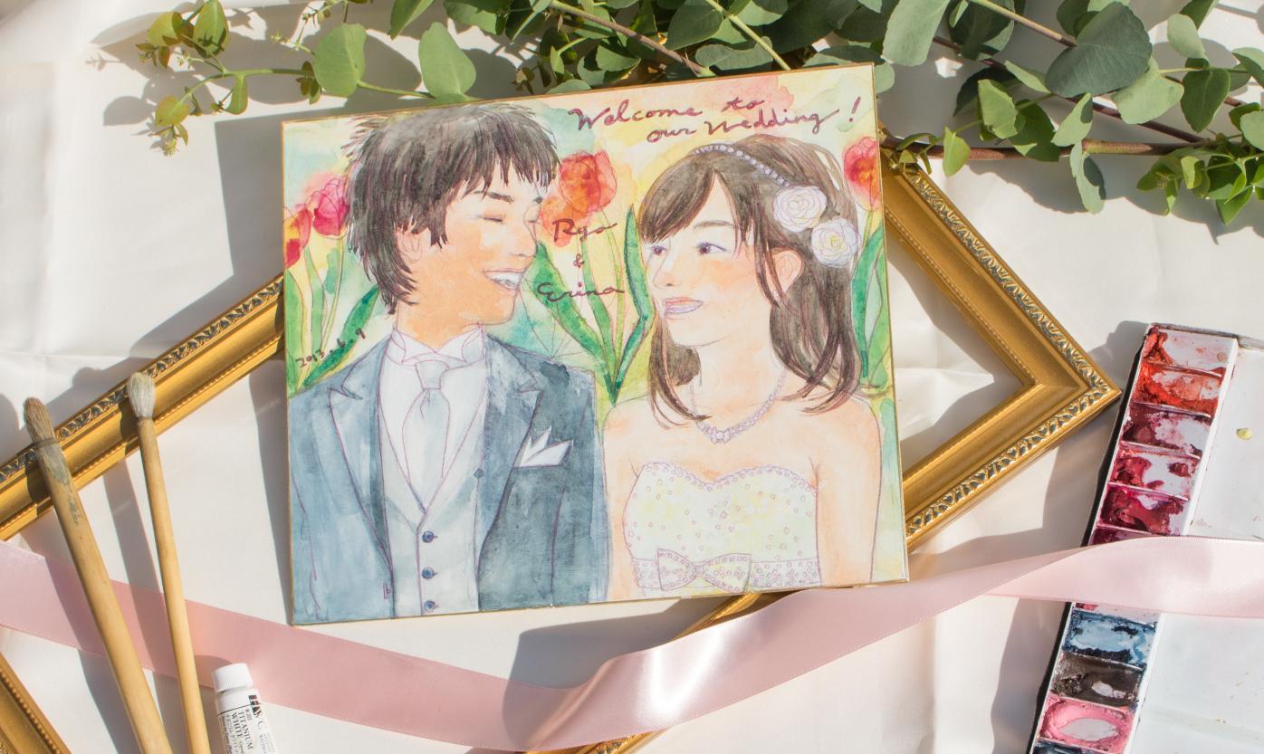 結婚式ウェルカムボード似顔絵(原明 あさの)