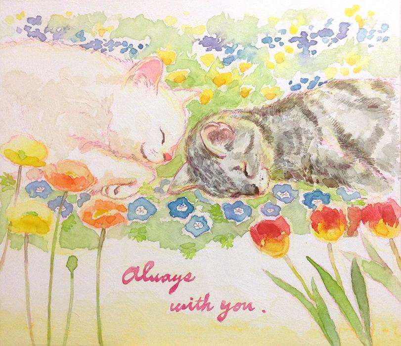 白猫さんとサバ猫さんの肖像画