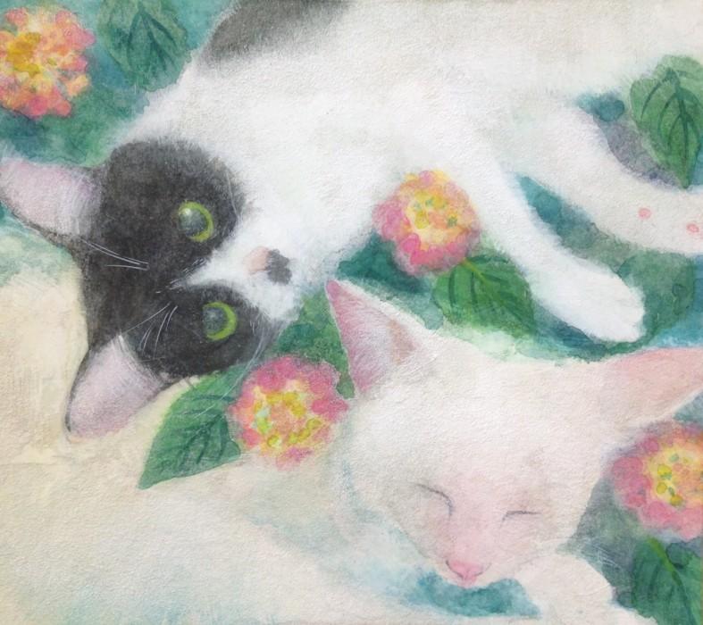 ハチワレ猫さんと白猫さんの肖像画