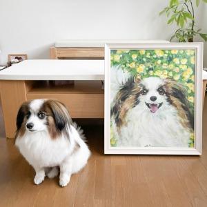 みかんちゃん(パピヨン)と肖像画